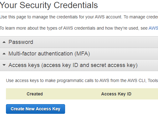 creating aws access key and secret