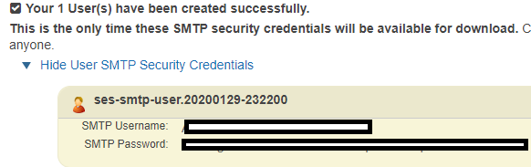 created aws ses credentials