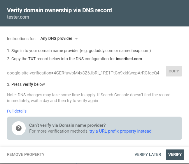 dns txt record to be added in dns configuration