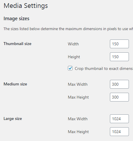 set image sizes in wordpress settings