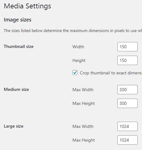 set image sizes in wordpress settings