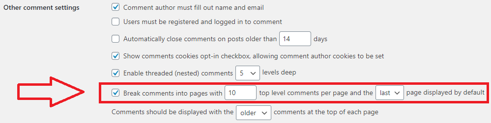enable pagination for comments