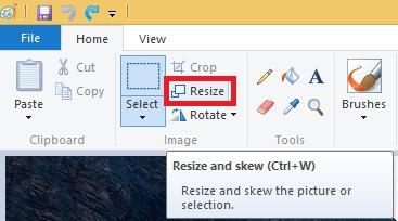 resize image using microsoft paint