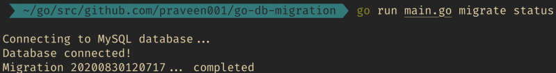 output of migrate status command
