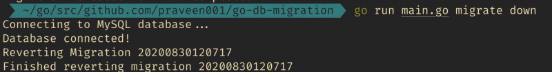 output of migration down command