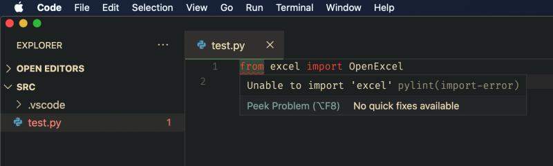 vscode showing error