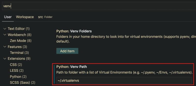 update vscode venv path settings